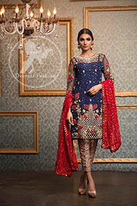 Dark Blue Shirt - Fawn Brocade Cigarette Pants - Red Dupatta