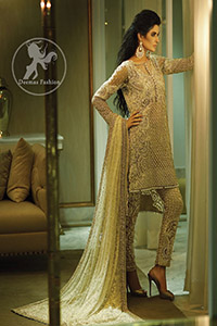Beige Heavy Shirt - Cigarette Pants - Embroidered Dupatta