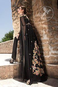 Black Party Wear Maxi - Embroidered Gown