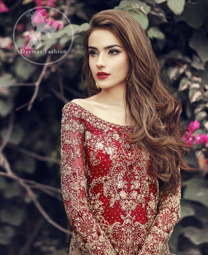 Deep Red Fully Embroidered Shirt - Back Trail Lehenga - Bridal Dupatta