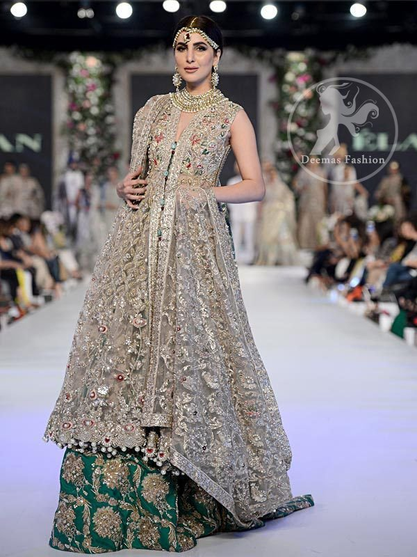 Fawn Bridal Frock - Emerald Green Embroidered Lehenga
