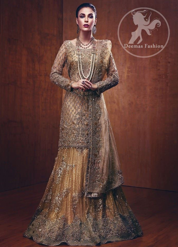 Golden Bridal Shirt Lehenga Organza Embroidered