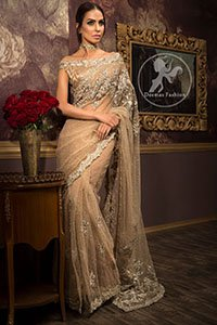 Light-Brown-Party-Wear-Saree- Jamawar-Blouse