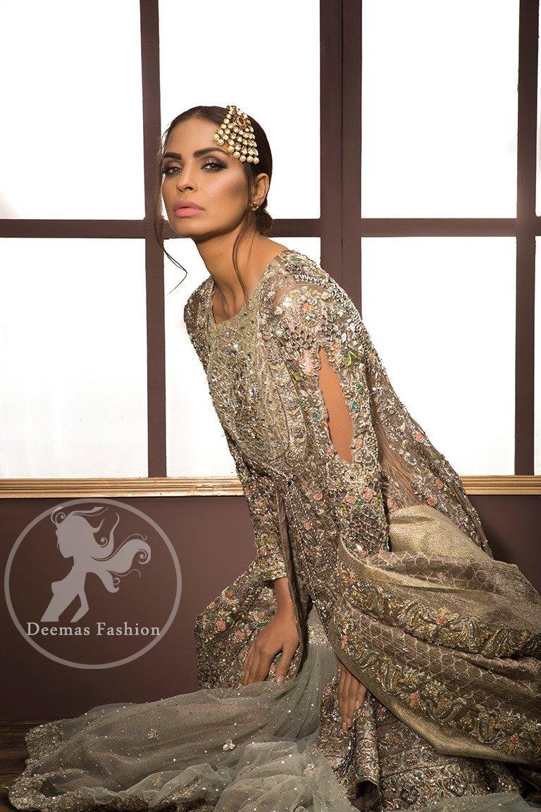 Light Fawn Embroidered Bridal Shirt - Dupatta - Gray Gharara