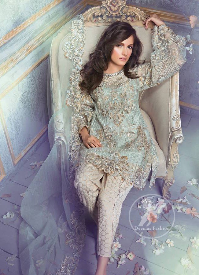 Light Teal Blue Semi Formal Shirt - Embroidered Dupatta - Beige Tulip Pants