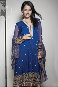 Royal Blue Embroidered Frock - Churidar - Printed Dupatta