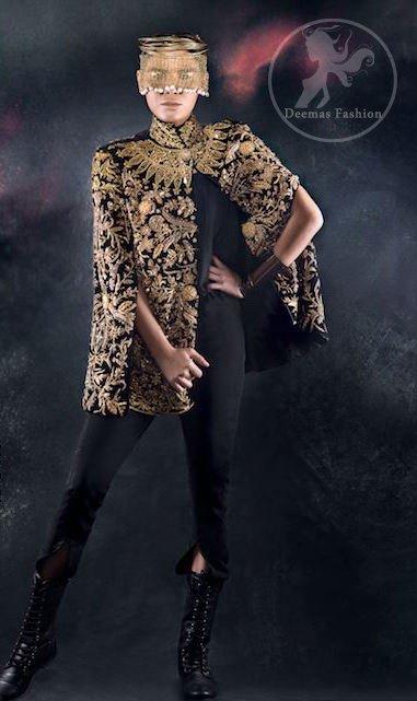 Stylish Black Party Wear - Cape -Capri Pants