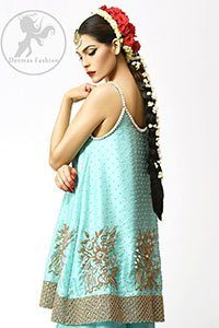 Turquoise Designer Wear Short Frock - Embroidered Sharara