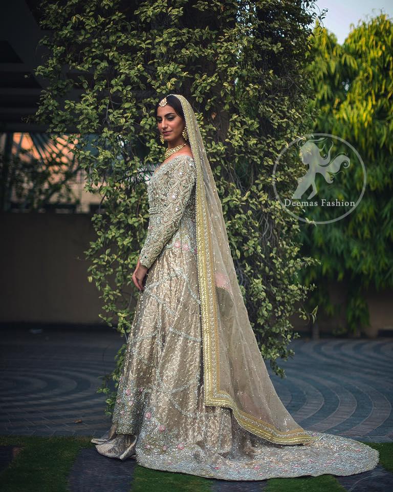 Anarkali Pishwas Dress 2017 - Light Brown Back Trail Frock - Lehenga
