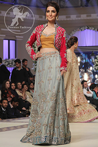 Bridal Lehenga Choli - Golden Yellow Choli - Grey Embroidered Lehenga