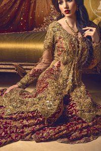 Bridal Wear Sharara - Light Fawn Front Open Gown - Deep Red Sharara