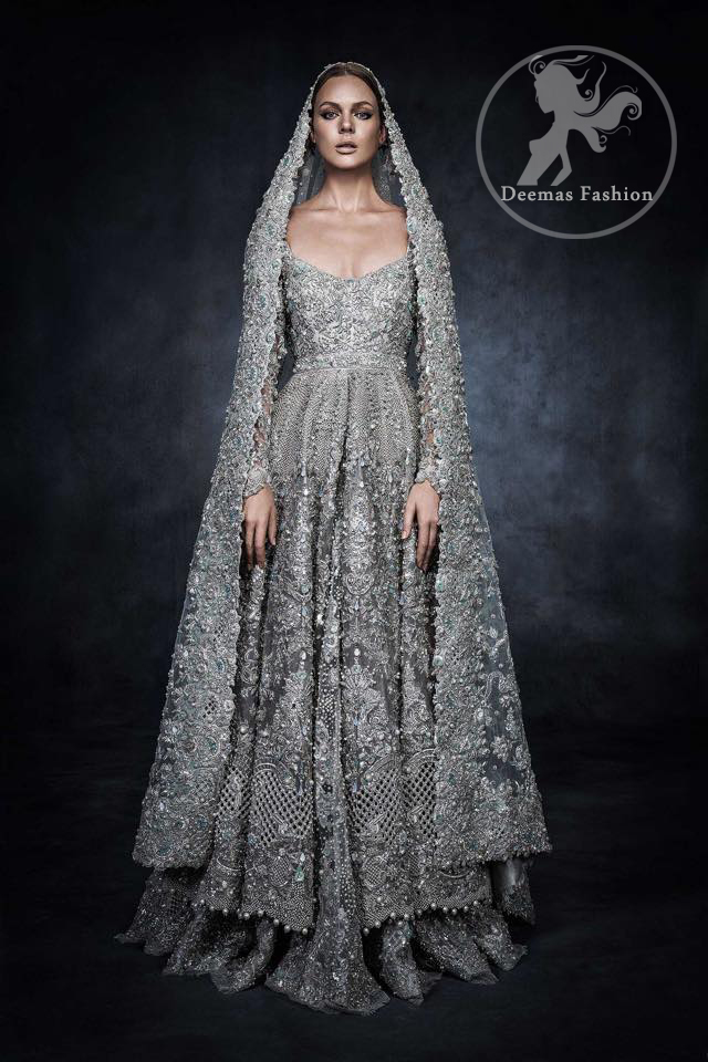 Dark Gray Bridal Wear Dress - Anarkali Bridal Frock - Embroidered ...