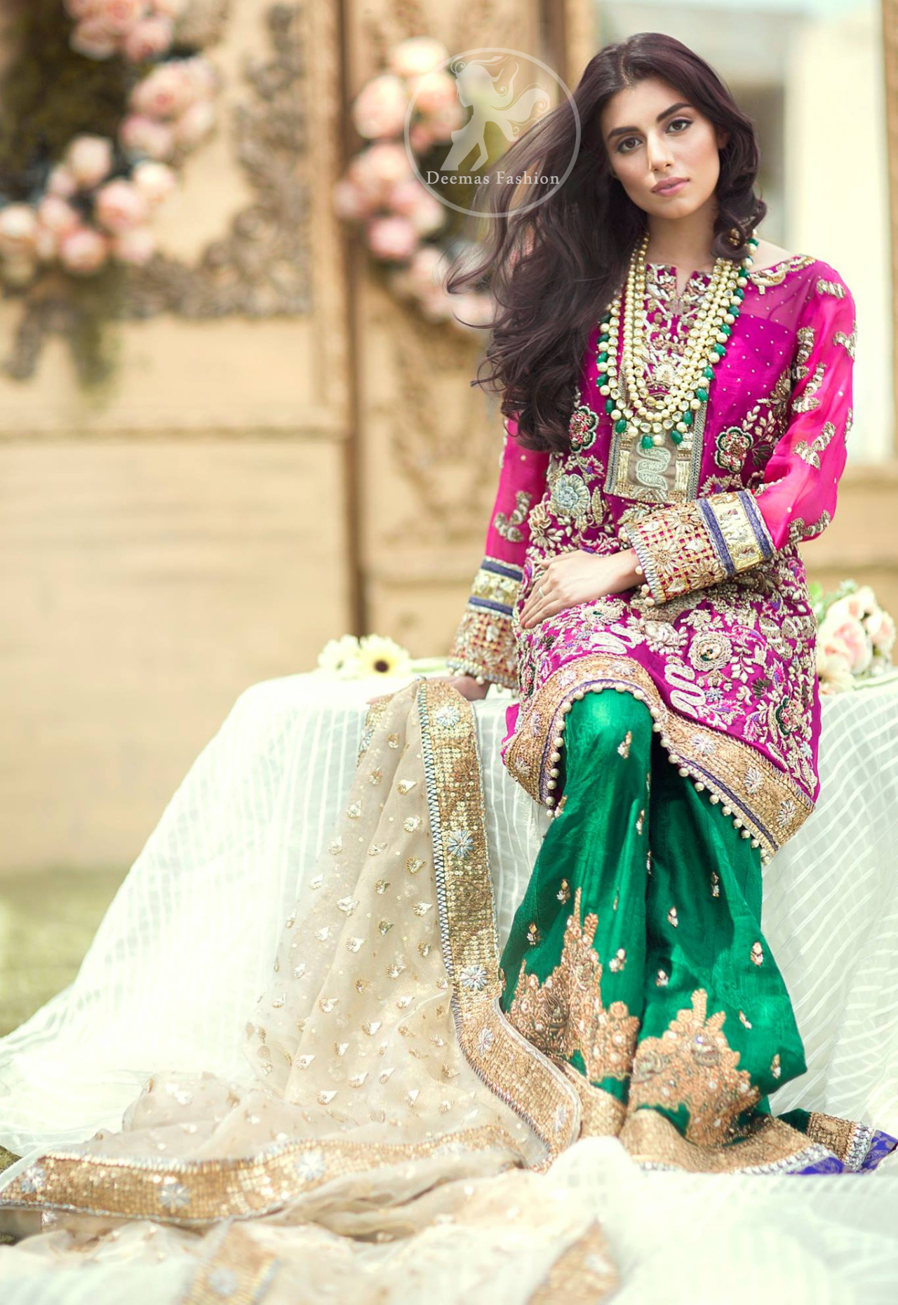 Mehndi Dresses 2017 - Shocking Pink Shirt - Bottle Green Sharara - Beige Dupatta