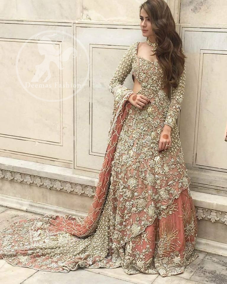 Pakistani Bridal Dress 2018 - Peach Back Trail Maxi- Embroidered Lehenga