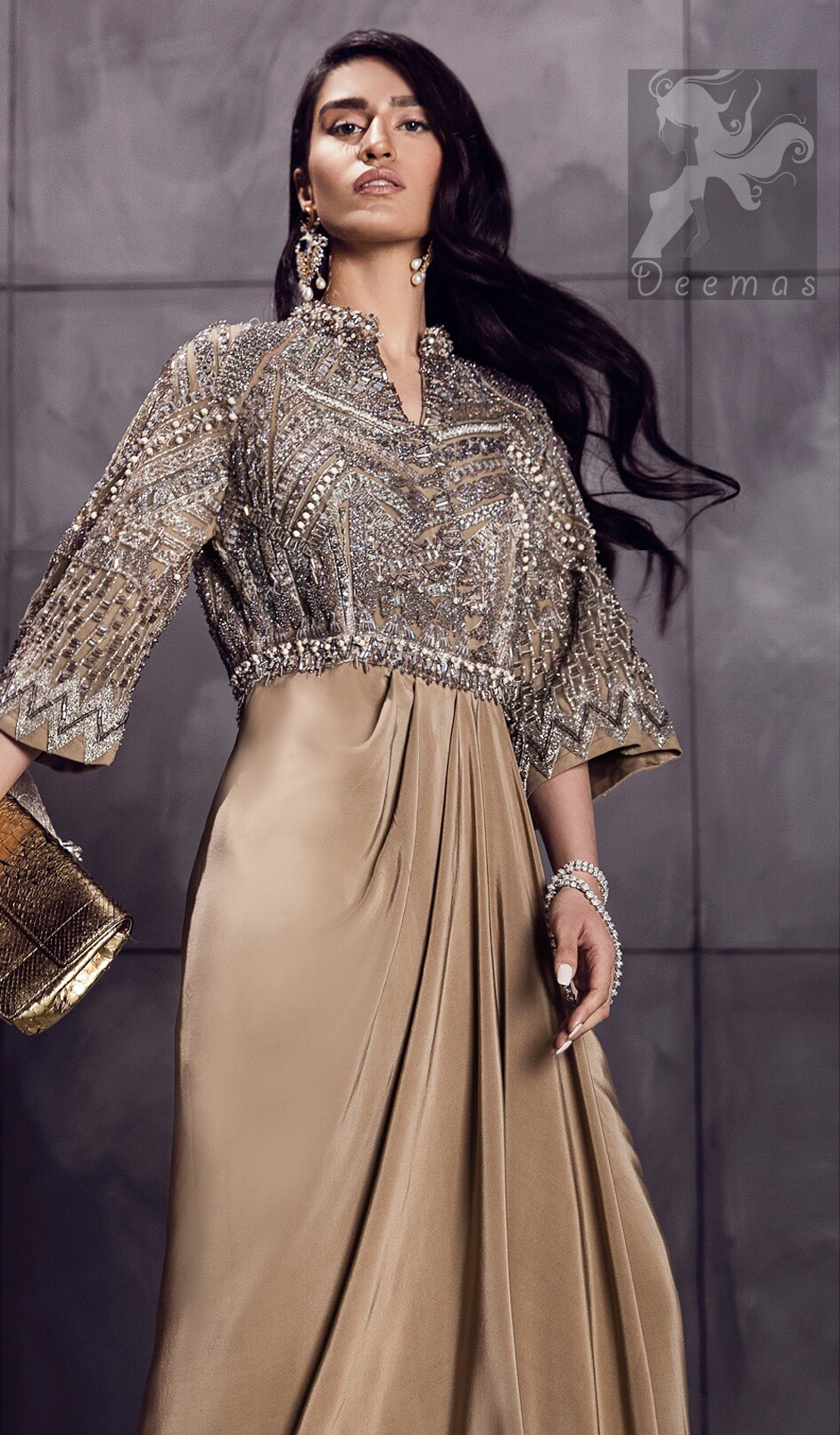 Fawn brown silky maxi has embellished bodice and sleeves. Bodice and sleeves have been embellished with dark gray embellishment and ivory pearls.