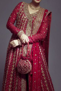 Pinkish red angrakha style bridal maxi adorned with dull golden, antique shades of embellishment. Pure banarsi jamawar chiffon fabric has been used for long length maxi. Brocade lehenga and pure banarsi chiffon jamawar dupatta.