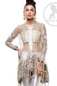 This classic outfit meticulously highlighted with silver golden kora, dabka ,tilla, sequins and pearls. This dress is beautifully sculptured with floral embroidery. The shirt is decorated with tassels and floral motifs on hemline which adds to the look. It comes with brocade pajama and beautifully decorated with net dupatta having sprinkled sequins all over it.