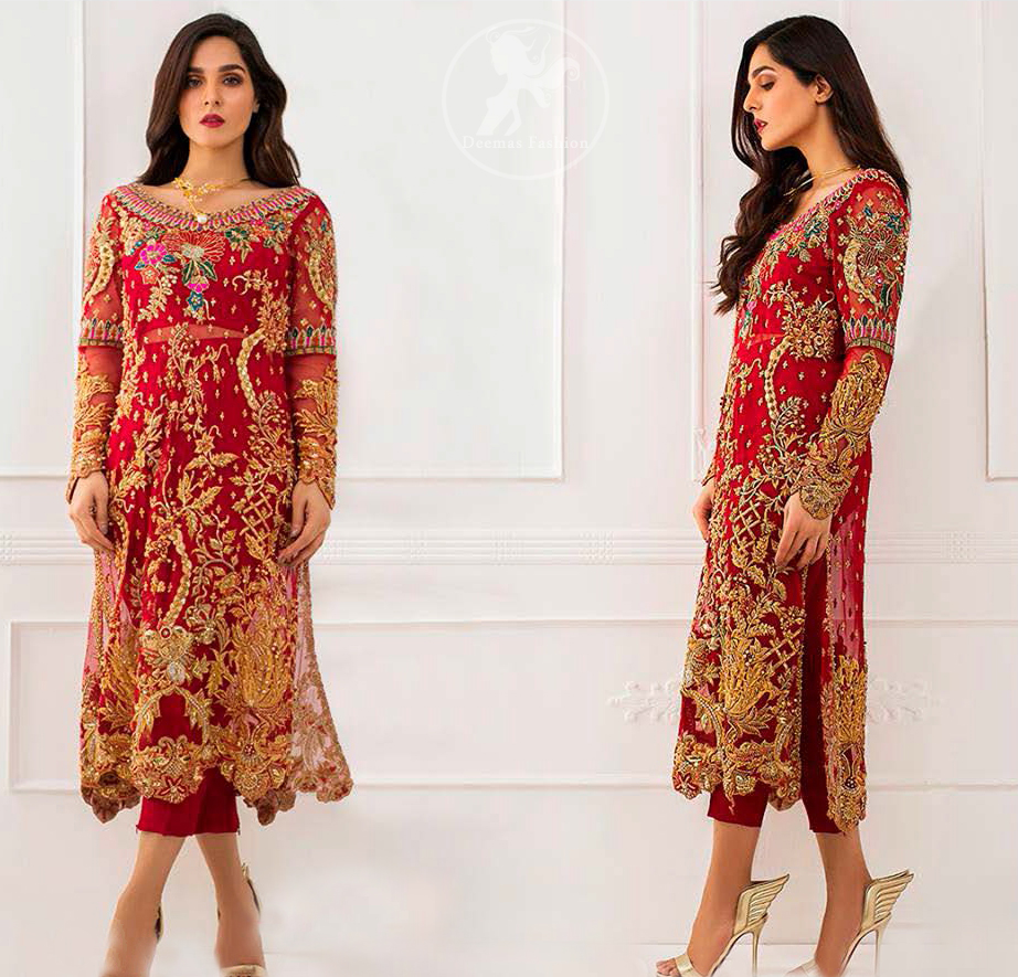 This dress is beautifully sculptured with floral embroidey, adorned with cutwork borders, colorful embellishments and zerdozi work. The detailed scalloped border gives a perect ending to this shirt. Having full length sleeves and small sprinkled motifs on ground. Paired up with red capri pants and comprises with red dupatta.