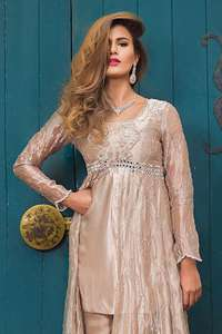 Cameo Front Open Gown Short Shirt Trousers & Dupatta