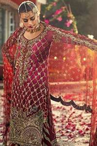 Crimson Long Shirt Red Sharara & Dupatta
