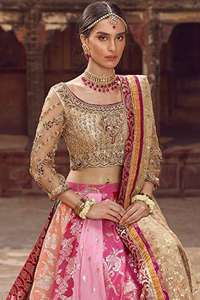 Golden Blouse Dupatta & Multiple Color Lehenga