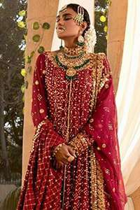 Maroon Front Open Long Shirt Sharara & Dupatta