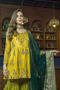 Yellow Frock Mehendi Green Gharara & Bottle Green Dupatta