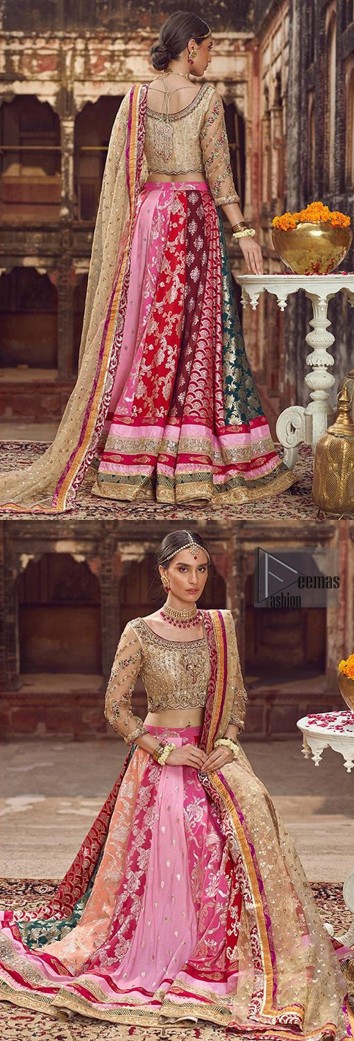 Make your special day more interesting with this shabby chic statement intensified with rich thread and tilla work all over the front, a large motif in the center and bold patterns at the end of blouse. Having full length sleeves adorned with floral bootis. Add some super cool twist to your look with these subtle colors in this lehenga enhanced with different color panaels. The bottom of the lehenga is adorned with applique and laces. Style it up with golden dupatta adorned with four sided applique border and scattered sequins all over.