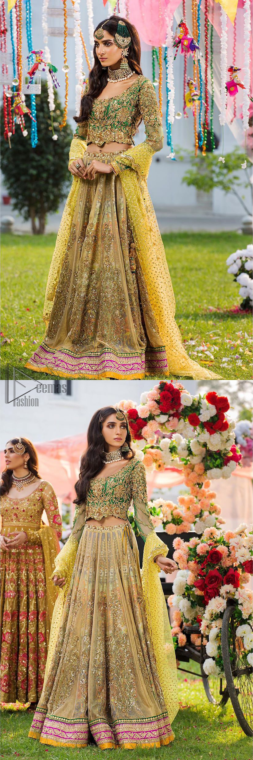 A perfectly pretty combination for a mehndi function. Gussy up the glamour with this intricate embroidered blouse accentuated with golden kora, dabka and tilla work and scalp finishing. The lehenga is emphasized with traditional style done with zardozi work in the shade of golden. Furthermore it is adorned with multiple color applique bottom which complete the look. It is coordinated with yellow dupatta sprinkled with sequins on the ground and scallop border.