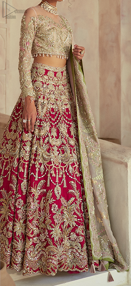 The lehenga is an amalgamation of a variety of our signature motifs, fine materials, and traditional yet contemporary silhouettes. Crafted from the prettiest zardozi work. Paired it up with off white self-fabric dupatta having a four-sided embroidered border.