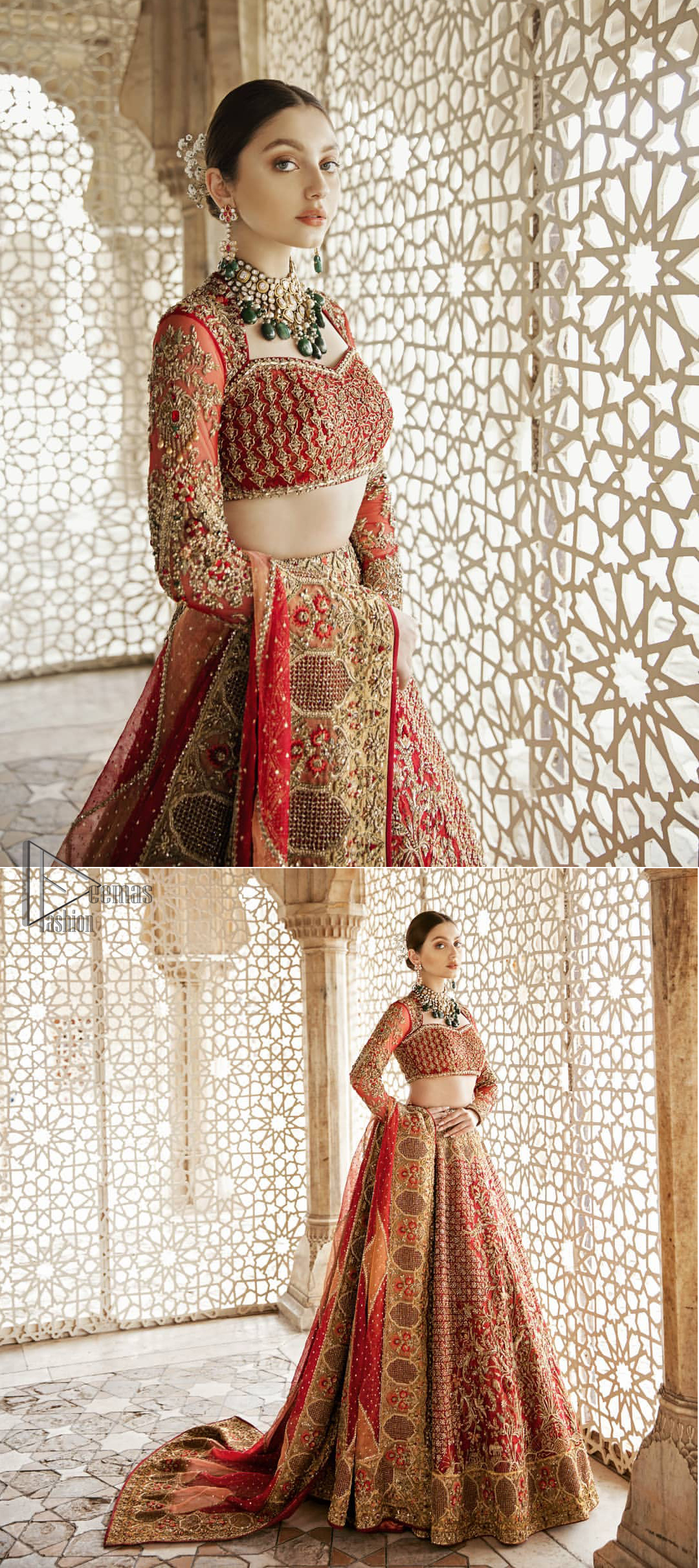 Classic, timeless and truly beautiful, our bridal dress is perfect for your unforgettable day. This exceptionally detailed dress is cut in a seductive fit and flare silhouette that's sure to turn heads. The blouse is adorned with antique shaded kora, dabka, tilla, kundan, sequins and pearls. Coordinated with traditional red lehenga having geometric patterns and floral embroidery ornamented with antique shaded zardozi work. The hemline is also adorned with vibrant floral motifs. Elegance is personified when it gets paired up with red organza dupatta having four sided thick embellished border.