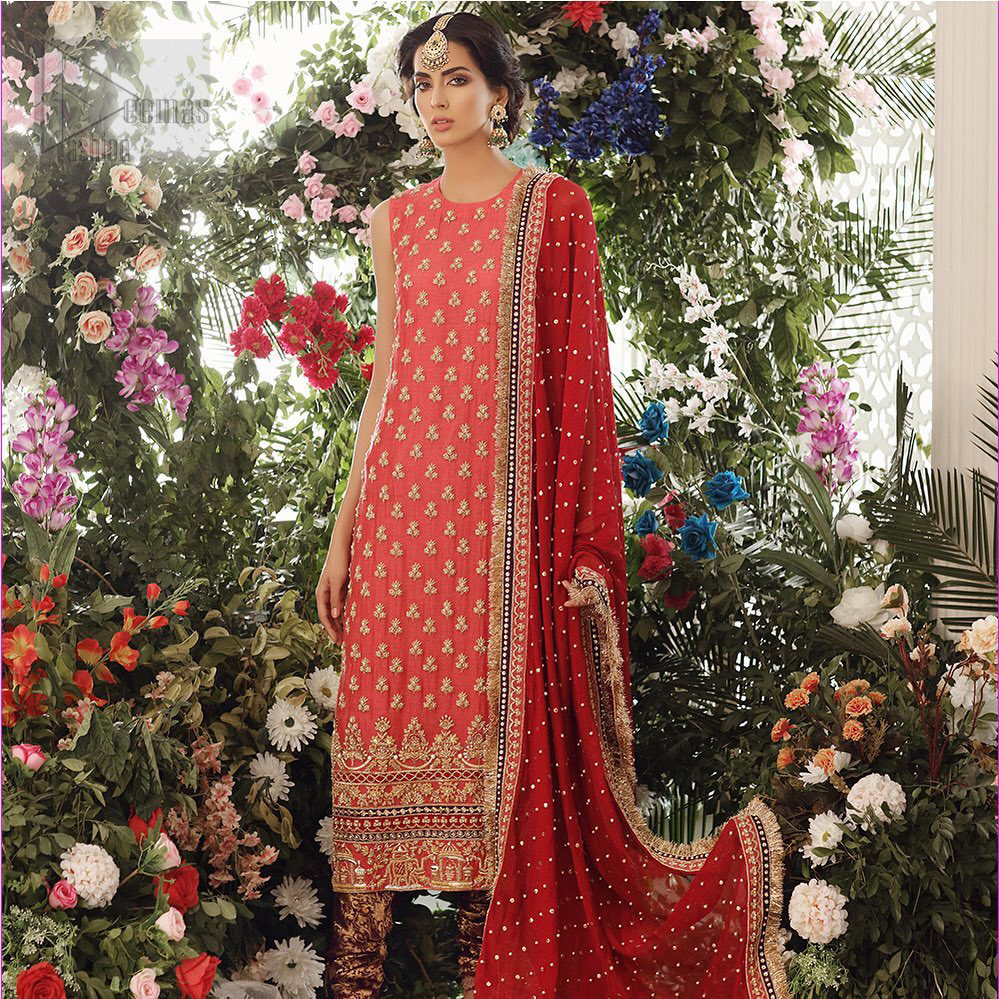 A perfect ensemble for this festive season with divine detailing of zardozi work. This outfit is an immensely captivating traditional piece, enhancing the art of classical heritage showcasing the craftsmanship of golden kora, dabka & tilla detailed with sequins, artistically embellished to give a beautiful rhythm to the outfit. Furthermore, the tiny floral booties scattered along the length. Complete the look with magenta churidar pajama and red chiffon dupatta adorned with sequins spray all over and four sided lace border.
