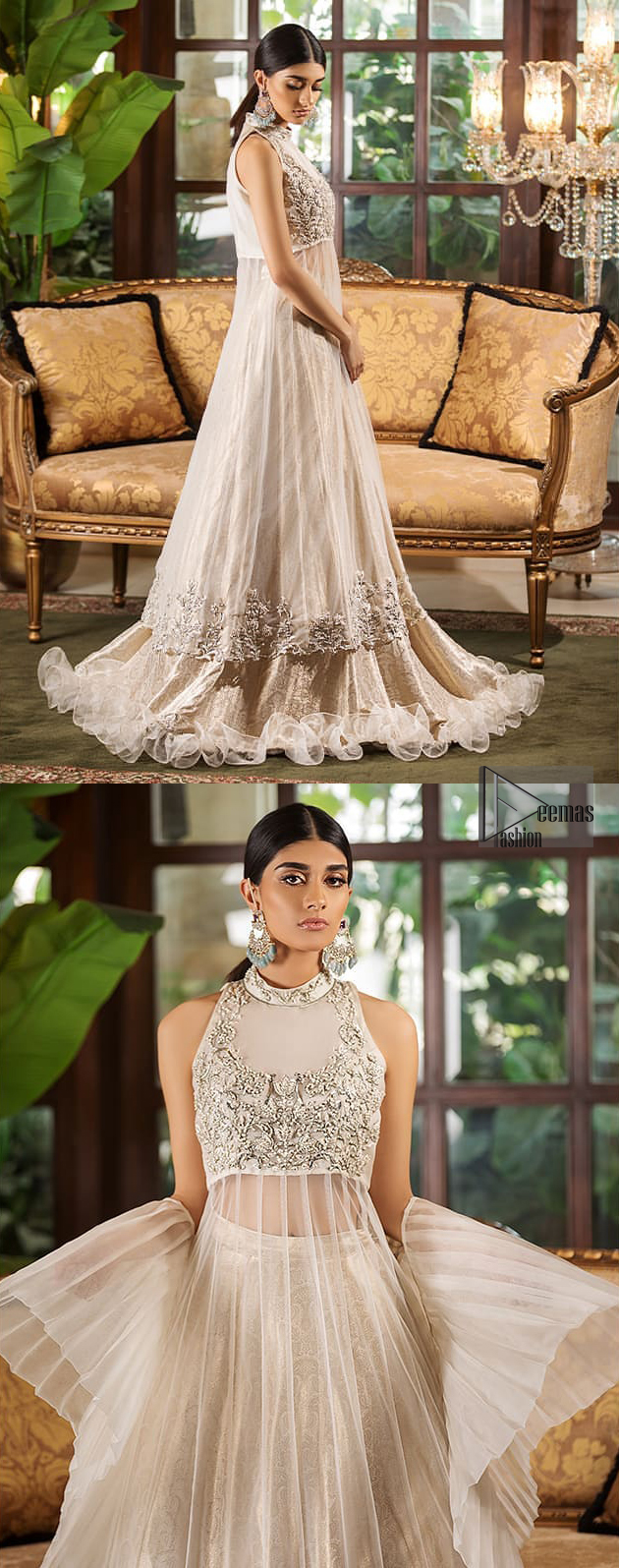 This halter neck frock is majestic beauty. Delicately crafted and personifying chic elegance with an element of grandiose. A full heavily embroidered bodice done with silver and gray zardozi work. The bottom of the frock is enhanced with rich floral embroidery and wide hemline. It comprises with brocade lehenga and net frilled lift the whole lehenga bottom. Complete the look with tea rose dupatta sprinkled with sequins on all over the ground.