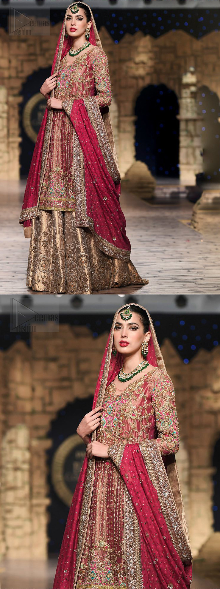 Nothing speaks of femininity and class louder than this outfit. This beautiful dress comes with burgundy A-Line frock with beautiful embellishment around the hem and vertically worked gold lines and it finished with a thick embellished border. The embroidery is done with golden, solver and antique shaded zardozi work. Furthermore it is also enhanced with multiple color thread embroidery in the floral motifs. Style it up with golden brocade sharara done with antique zardosi work at the bottom. This beautiful dress is comprises with burgundy dupatta sprinkled with sequins spray and four sided embroidered border.