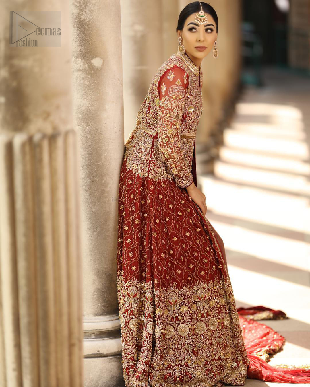Crafted with love. Make your big day more beautiful with our excessively embroidered front open gown featuring delicately embellished neckline along with geometric patterns highlighted in zardozi detailing and intricately embroidered bottom that gives perfect ending to this outfit. Crafted artfully with golden kora, dabka, tilla, sequins and thread work. The embellished alluring scalloped borders dupatta gives the perfect ending to this peplum. The dupatta is furthermore enhanced with dangling tassels and multiple color thread embroidery.
