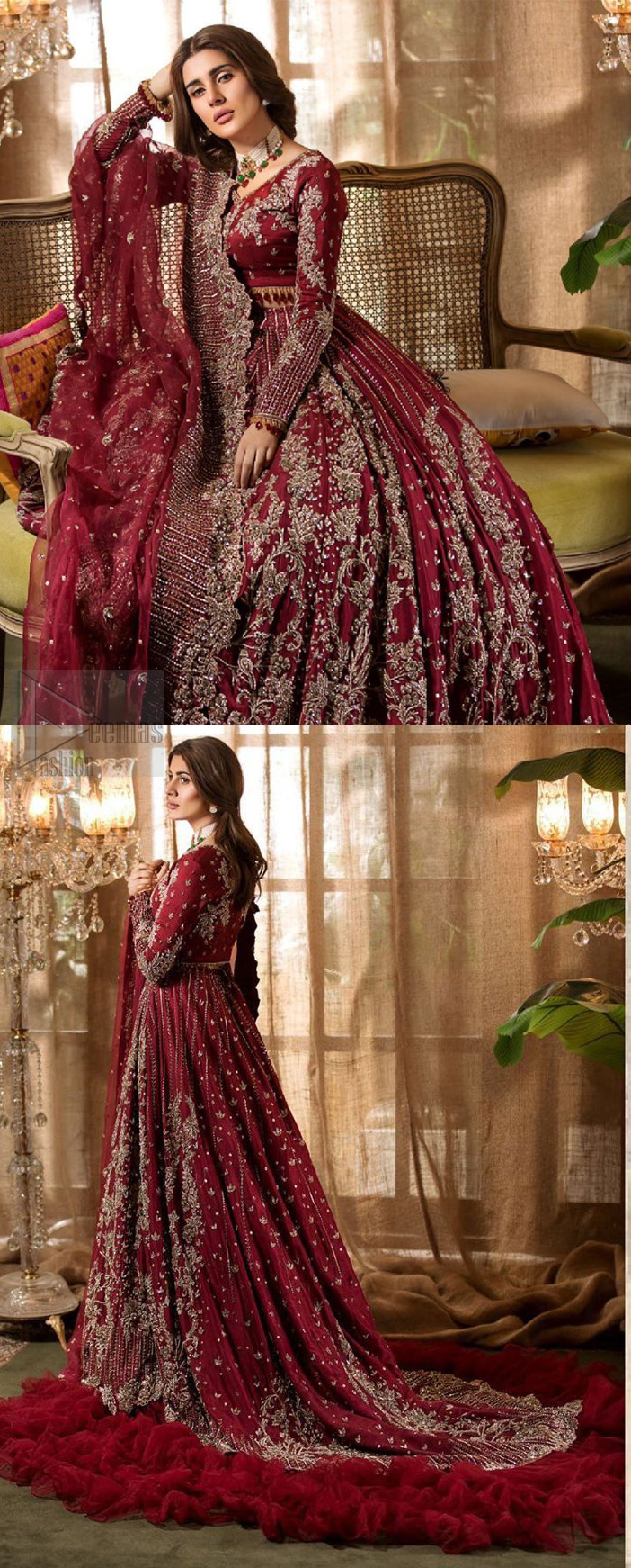 Make your big day more beautiful with our excessively embroidered lehenga blouse featuring delicately embellished back train along with scalloped finishing highlighted with antique embroidered detailing and intricately frilled inner that gives perfect ending to this outfit. The blouse is delicately crafted with antique zardosi work having full sleeves with dangling finishing. It is paired with an ethereal bridal dupatta focusing on kora and dabka handwork borders on all four sides, finished with scalloped borders. With a flowing trail, this is an ensemble that deserves to be flaunted.