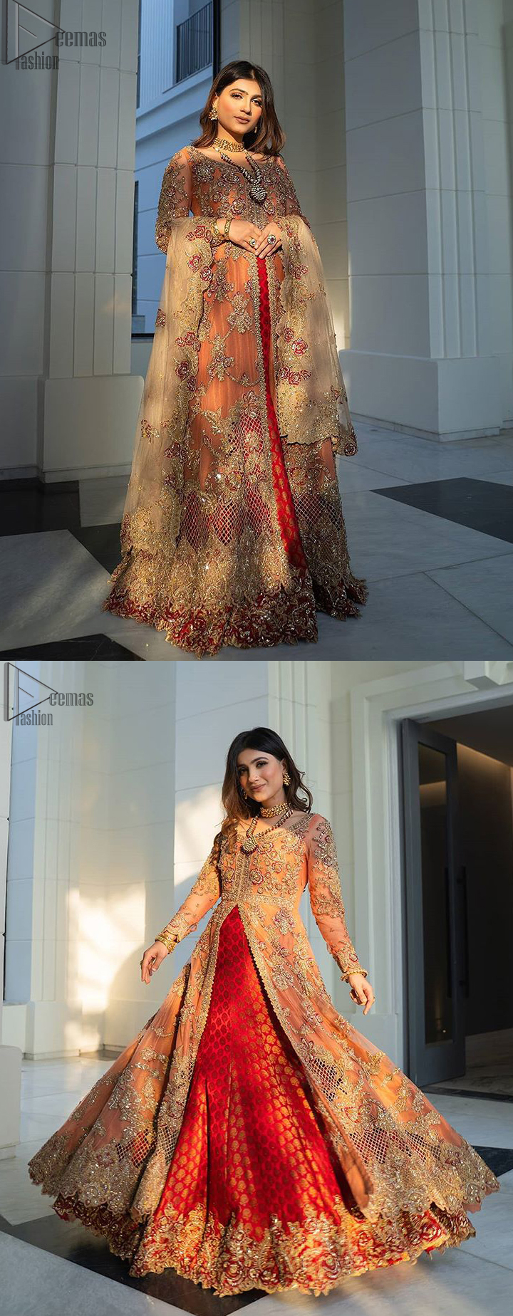 """Details make perfection and perfection is not a detail""""-DaVinci. This beautiful quote embodies what the DeemasFashion tries to achieve in its every ensemble which is customised to perfection. This beautiful play of red and orange makes for a stunning. The upper layer of maxi is beautifully crafted with multiple color zardozi work and embroidered jaal. The bottom of inner are even more enhanced with golden zardozi embellishment and finished with scallops. It comprises with churidar pajama and fawn chiffon dupatta. The embellished alluring cut work floral border gives the perfect ending to veil or dupatta."""