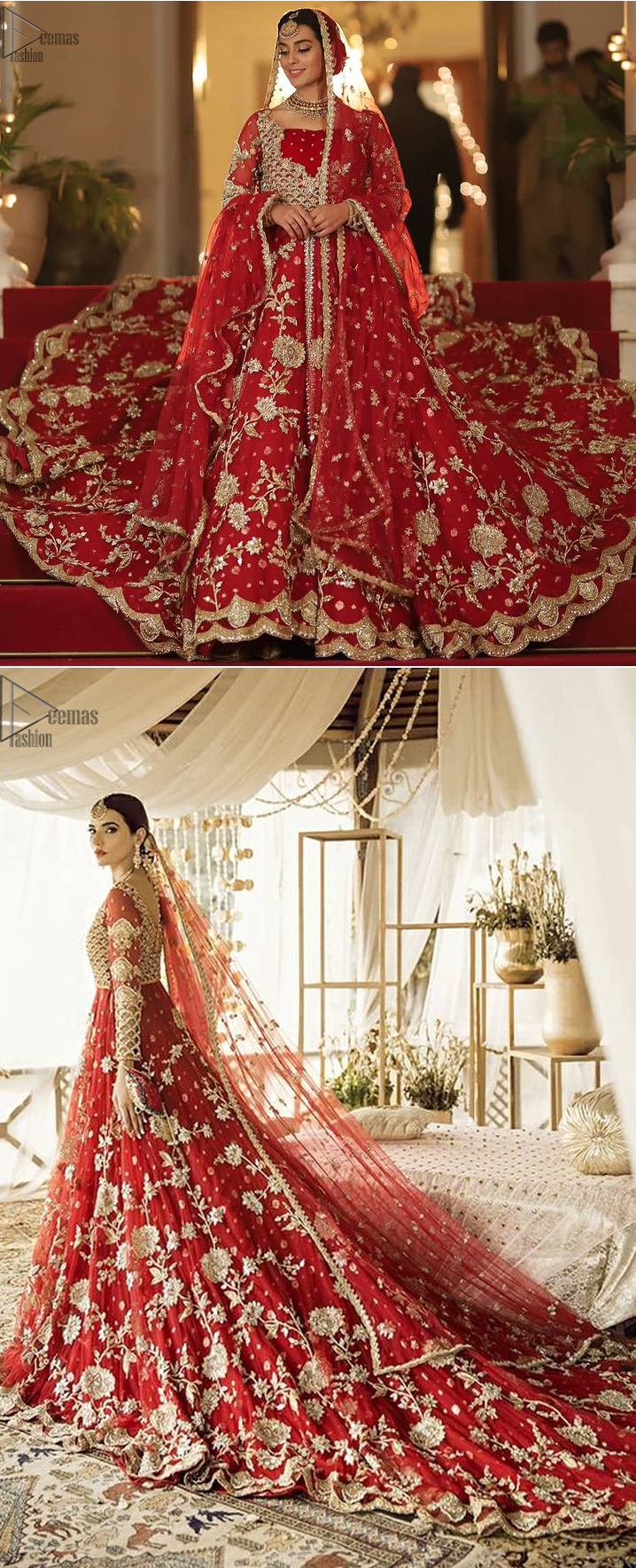 Pakistani Bridal Wear - Red Front Open Back Train Maxi. This red bridal dress stands out due to its uniqueness and the perfect fusion of modern cut and traditional embroidery.