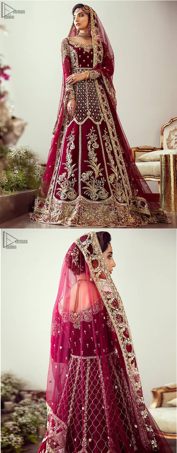"""Maroon Floor Length Pakistani Reception Wear Pishwas with Bridal Dupatta and Churidar Pajama. Did you recently say """"YES"""" to the person of your dreams? Now it's time to stop searching for the perfect dress. Then hold your breath, as we reveal this masterpiece. A sensational affair so timeless and magnificent, beautifully crafted with light golden zardozi work. Craftmanship and skills you've never witnessed before. The pishwas is fully decorated with geometric patterns, floral bootis and tea rose embroidered appliqued bottom."""