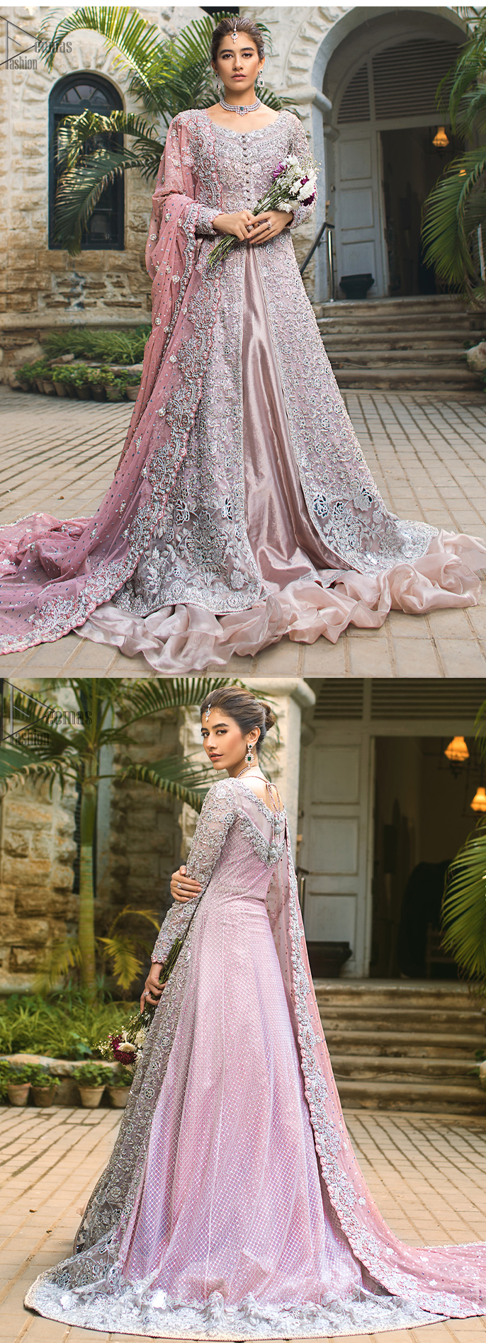 Pink Front Open Gown - Ruffled Sharara, Pair it up with a pink inner maxi and ruffled sharara gives the perfect ending to the outfit. The dupatta incorporates beautifully designed borders on all four sides, focusing on the heavily embellished pallu borders to give it a perfect maharani look.