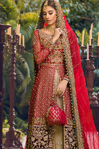 Red Back Train Shirt - Golden Lehenga