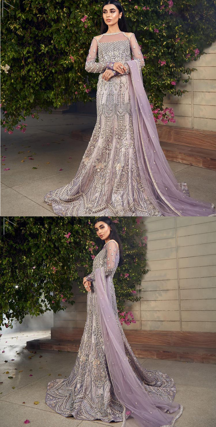 Light Purple Fish Train Gown – Dupatta