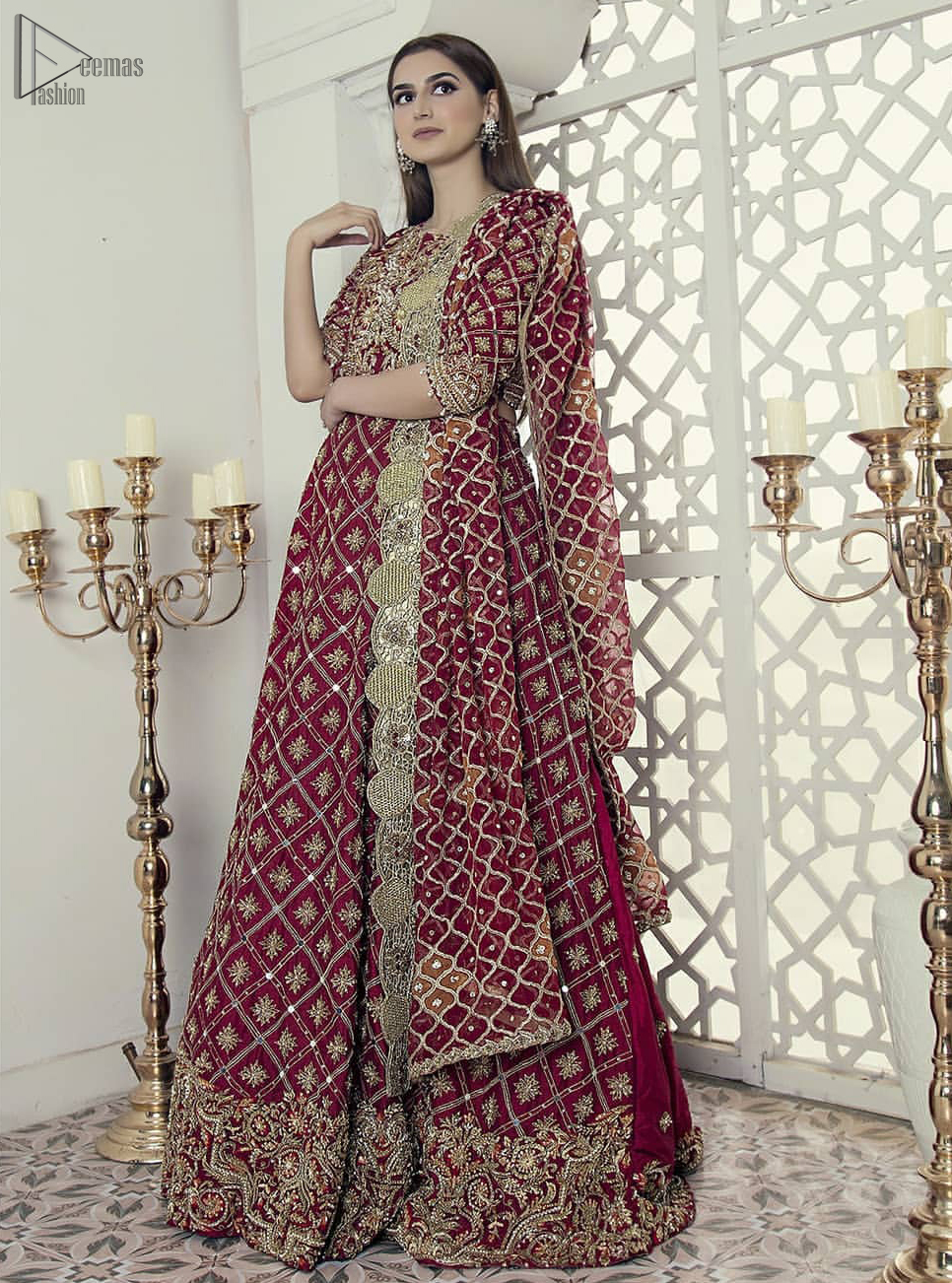 Maroon fully embroidered blouse cross-check lehenga n dupatta. This outfit is Crafted with love and classically designed to make your memorable day beautiful as it should be. This blouse comes with cross-check embroidery pattern lehenga. This lehenga dress is timeless and elegant with a touch of modern trend!