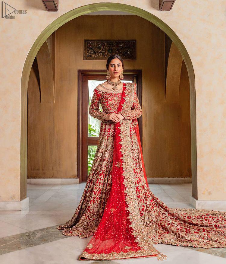 Red Off Shoulder Blouse - Back Train Lehenga n Dupatta for wedding