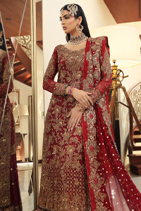 Red Long Shirt Dupatta - Appliqued Gharara