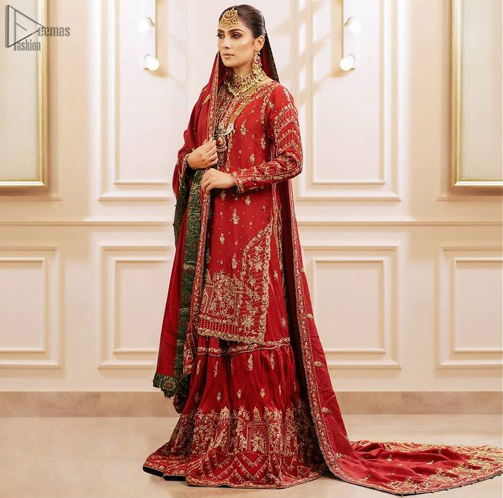 Deep Red Pakistani Bridal Wear Shirt, Gharara with Shawl.