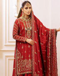 Deep Red Pakistani Bridal Wear Shirt, Gharara with Shawl.