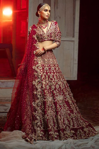 Deep Red Lehenga Blouse – Dupatta