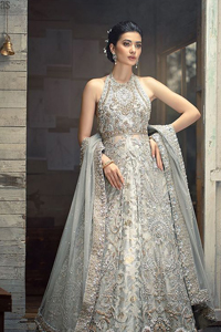 Light Grey Halter Neck Gown Lehenga – Dupatta
