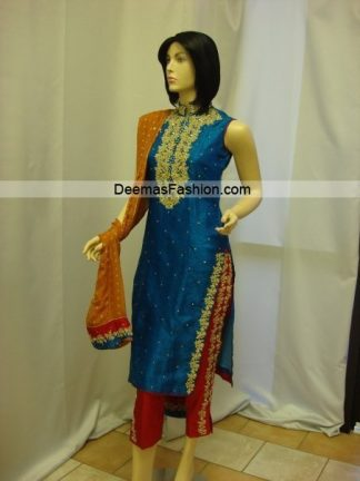 Pakistani Designer Dress - Blue Red Formal Wear